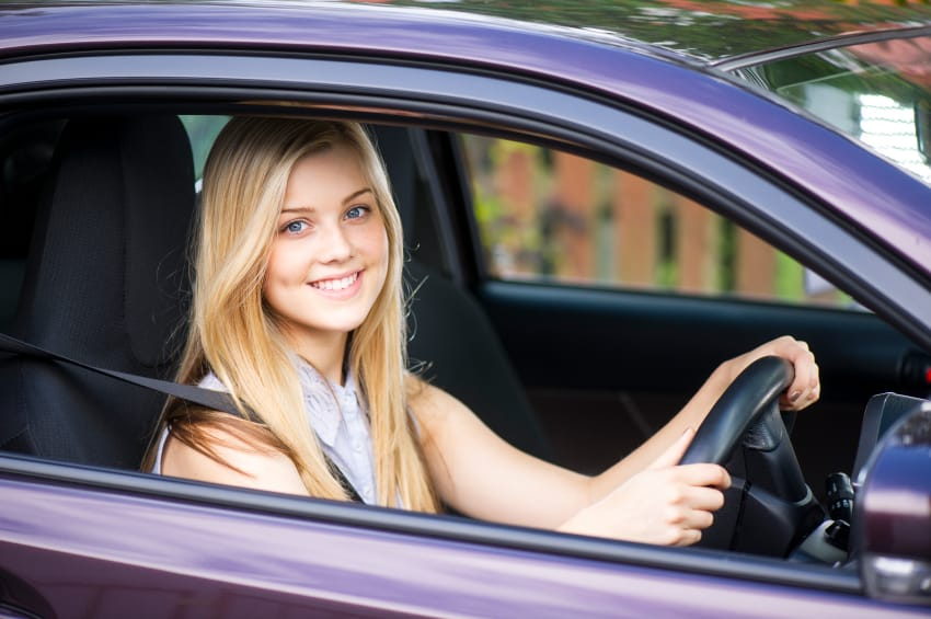 Young lady in car