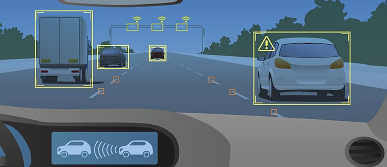 Driverless car technology illustration