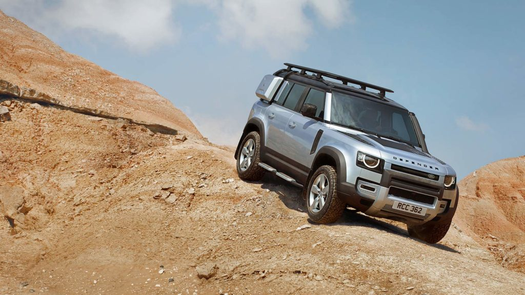 2020-Land-Rover-Defender-driving-off-road-down-desert-hill